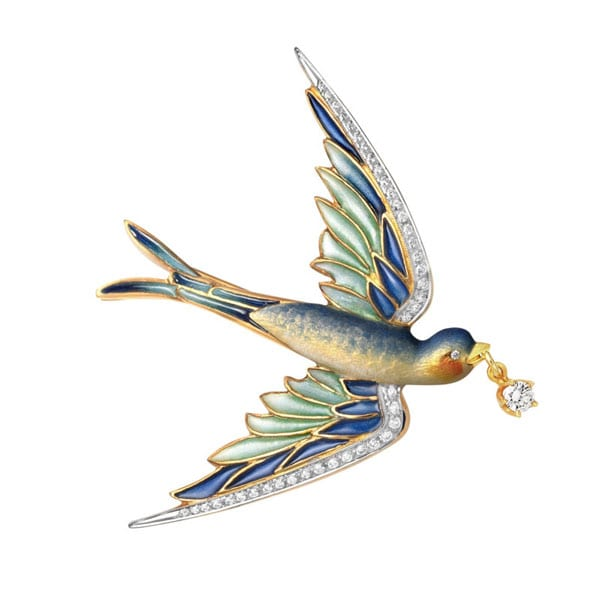 Masriera Cloisonne Enamel and diamond swallow pin in 18kt. yellow gold