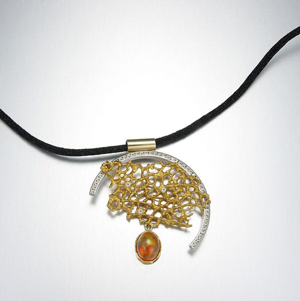 Platinum and 18kt. yellow gold sea fan necklace with Mexican Opal and diamonds by Cronin Jewelers