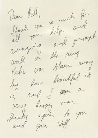Handwritten Thank You Note Boulder Jewelry Cronin Jewelers
