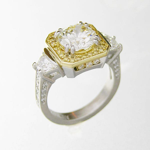 Platinum and 18kt. yellow gold custom diamond ring by Cronin Jewelers