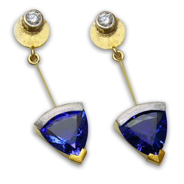 Custom Tanzanite and diamond earrings in Platinum, 18kt. and 24kt. yellow gold by Cronin Jewelers
