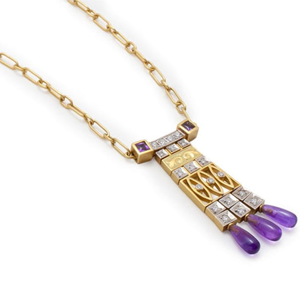 Masriera 18kt. yellow gold diamond and amethyst necklace.